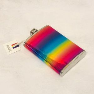 Rainbow Holographic Stainless Steel Flask  8 FL OZ